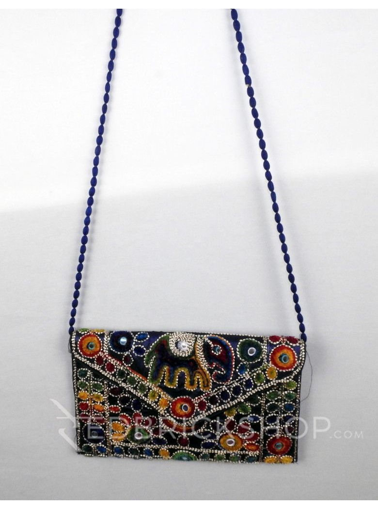 CIRCLE FLORAL ELEPHANT BLUE KUTCHI SLING BAG