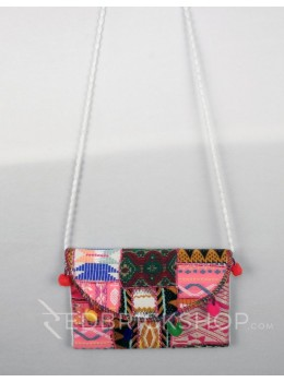 PATCH WORK POMPOM WHITE KUTCHI SLING BAG