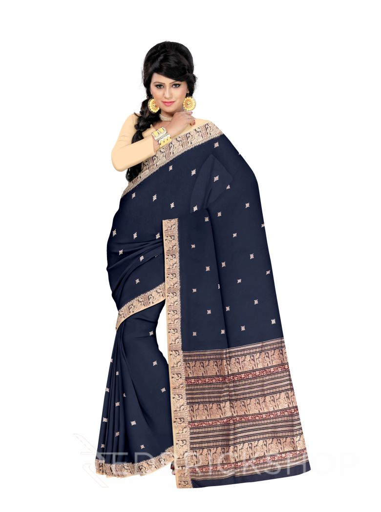 BALUCHARI NAVY-CREAM-MUSTARD COTTON SAREE