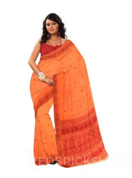 BALUCHARI SAFFRON-MAROON COTTON SAREE