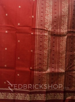 BALUCHARI RUST-BEIGE COTTON SAREE
