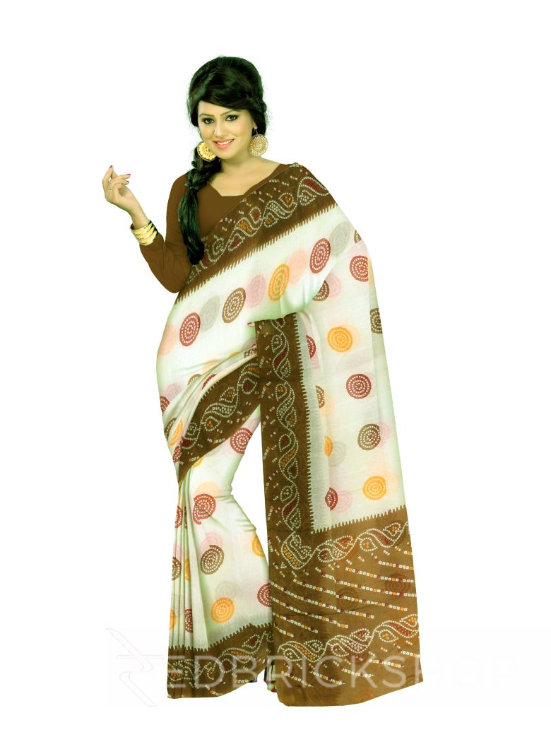 BANDHEJ CIRCLE OLIVE COTTON SAREE