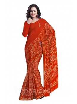 BATIK ABSTRACT RUST COTTON SAREE