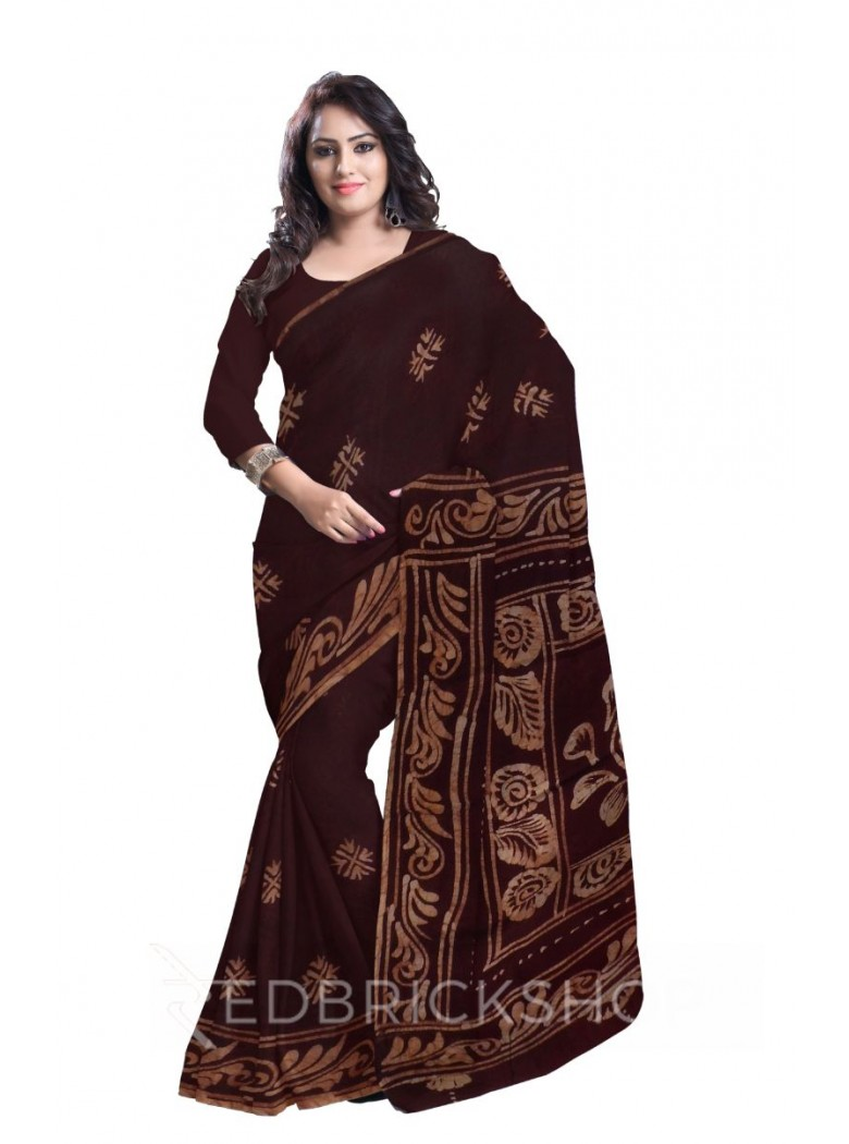 BATIK ABSTRACT BROWN COTTON SAREE