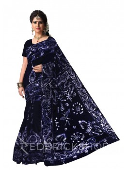 BATIK ABSTRACT NAVY COTTON SAREE