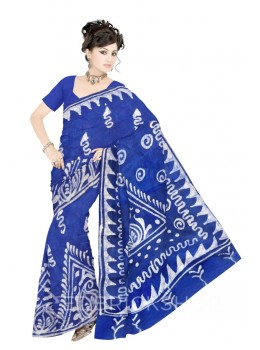 BATIK ABSTRACT BLUE COTTON SAREE