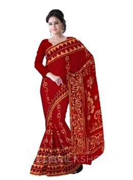 BATIK OVAL RED COTTON SAREE