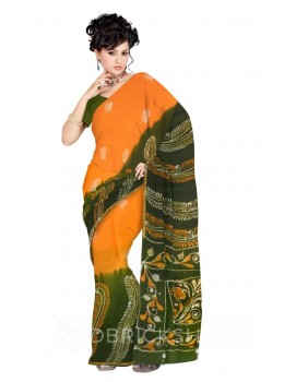 BATIK PEEPAL BIG FERN GREEN, MUSTARD, YELLOW, WHITE COTTON SAREE