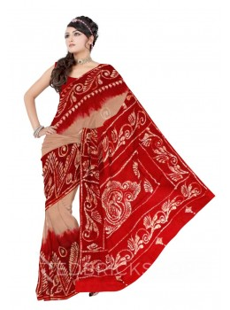 BATIK CHAKRI BIG TRIANGLE BEIGE, RED, WHITE COTTON SAREE