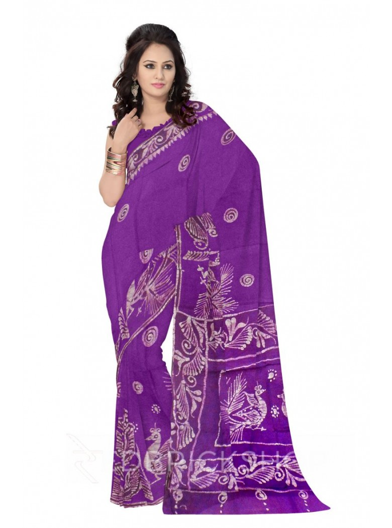 BATIK CHAKRI PEACOCK MAUVE, PURPLE, WHITE COTTON SAREE
