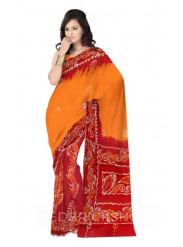 BATIK CHAKRI LEAF VINE RED, MUSTARD, YELLOW, WHITE COTTON SAREE