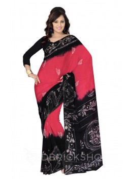 BATIK SPRIG DIAMOND PINK, BLACK, WHITE COTTON SAREE
