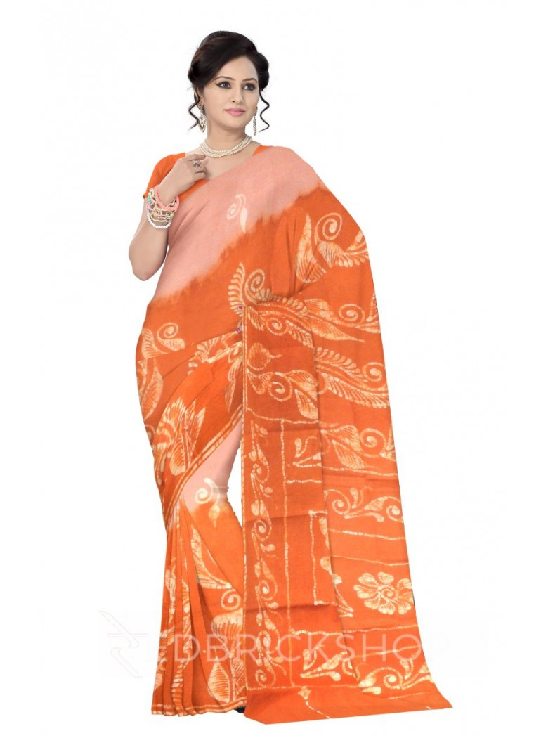 BATIK BUD LEAF BIG VINE BEIGE, MUSTARD, YELLOW, WHITE COTTON SAREE