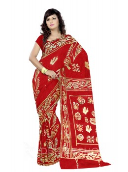 BATIK CHOWK LEAF RED, YELLOW, WHITE COTTON SAREE