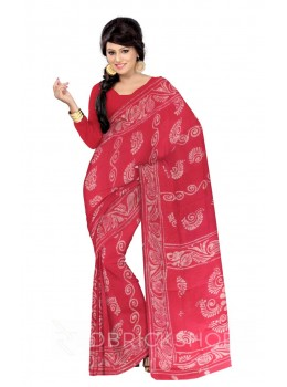 BATIK SHELL VINE PINK, WHITE COTTON SAREE