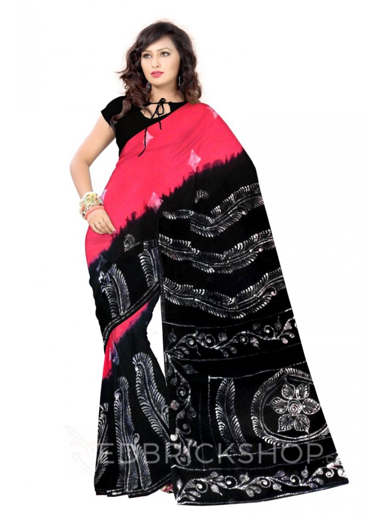 BATIK BIG FERN DIAMOND PINK, BLACK, WHITE COTTON SAREE