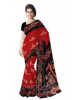 BATIK THREE LEAF RUST, BLACK, WHITE COTTON SAREE