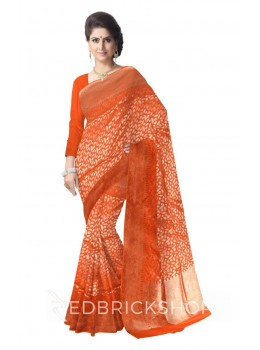 FLOWER LEAF FAN BORDER SAFFRON ORANGE, GOLD BENARASI SILK SAREE