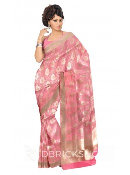 PINEAPPLE FLORAL VINE PLAIN BORDER LIGHT PINK, GOLD BENARASI SILK SAREE
