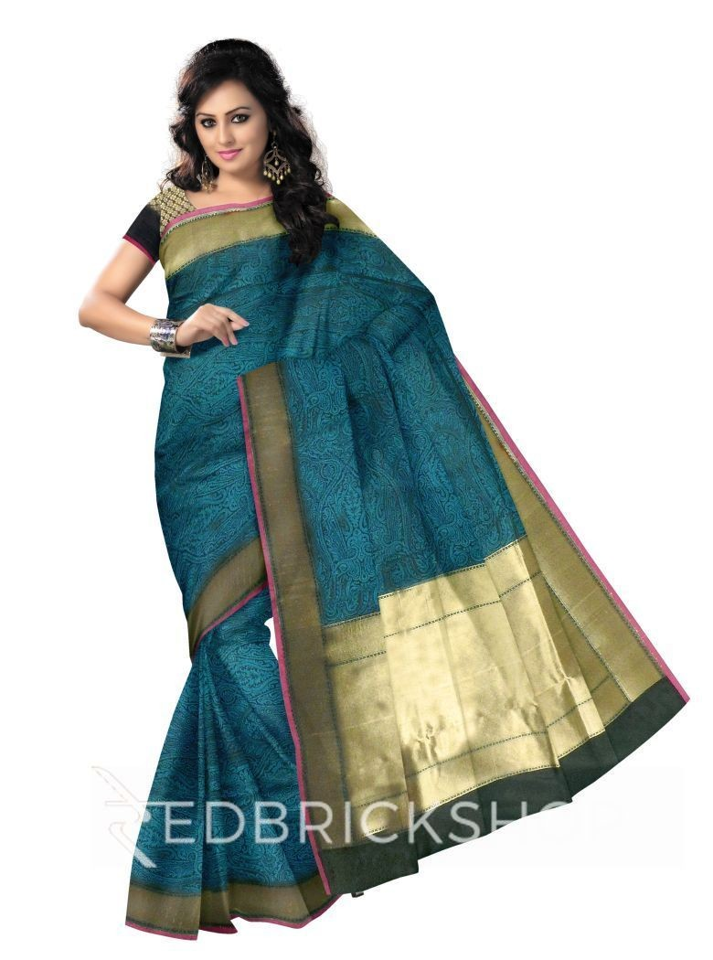 ALL OVER FLORAL LEAF ARCH PLAIN BORDER AQUAMARINE GREEN, BLACK, MAGENTA, GOLD BENARASI SILK SAREE