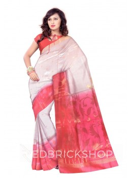 LOTUS BUD FLOWER CHECK BORDER PINK, CREAM, GOLD BENARASI SILK SAREE