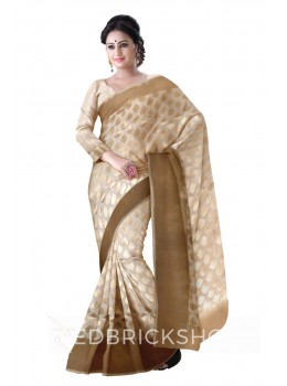 FLORAL PAISLEY BROAD PLAIN BORDER CREAM, GOLD BENARASI SILK SAREE