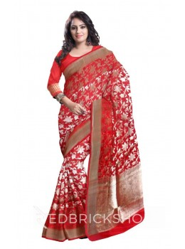FLOWER LEAFY VINE PLAIN BORDER RED, GOLD BENARASI SILK SAREE