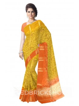 BIG FLOWER TULIP SPADE BORDER ORANGE, YELLOW, GOLD BENARASI SILK SAREE