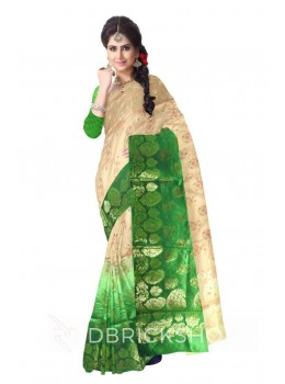 MULTI PAISLEY FLORAL PAISLEY BORDER BEIGE, GREEN, GOLD BENARASI SILK SAREE