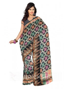 CRISS CROSS LEAF FLORAL TRIANGLE BORDER BLACK, ORANGE, GREEN, MAGENTA PINK, GOLD BENARASI SILK SAREE