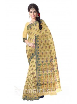 ROSE FLORAL BORDER BEIGE, BLUE, GREEN, GOLD BENARASI SILK SAREE