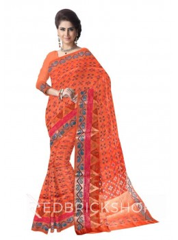 MOSAIC PAISLEY TRIANGLE BORDER ORANGE, TEAL BLUE, MAGENTA PINK, GOLD BENARASI SILK SAREE