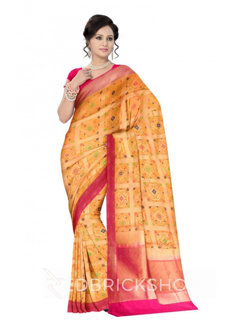 SQUARE OCTAGON STRIPE BORDER MUSTARD YELLOW, BLUE, GREEN, PINK, GOLD BENARASI SILK SAREE