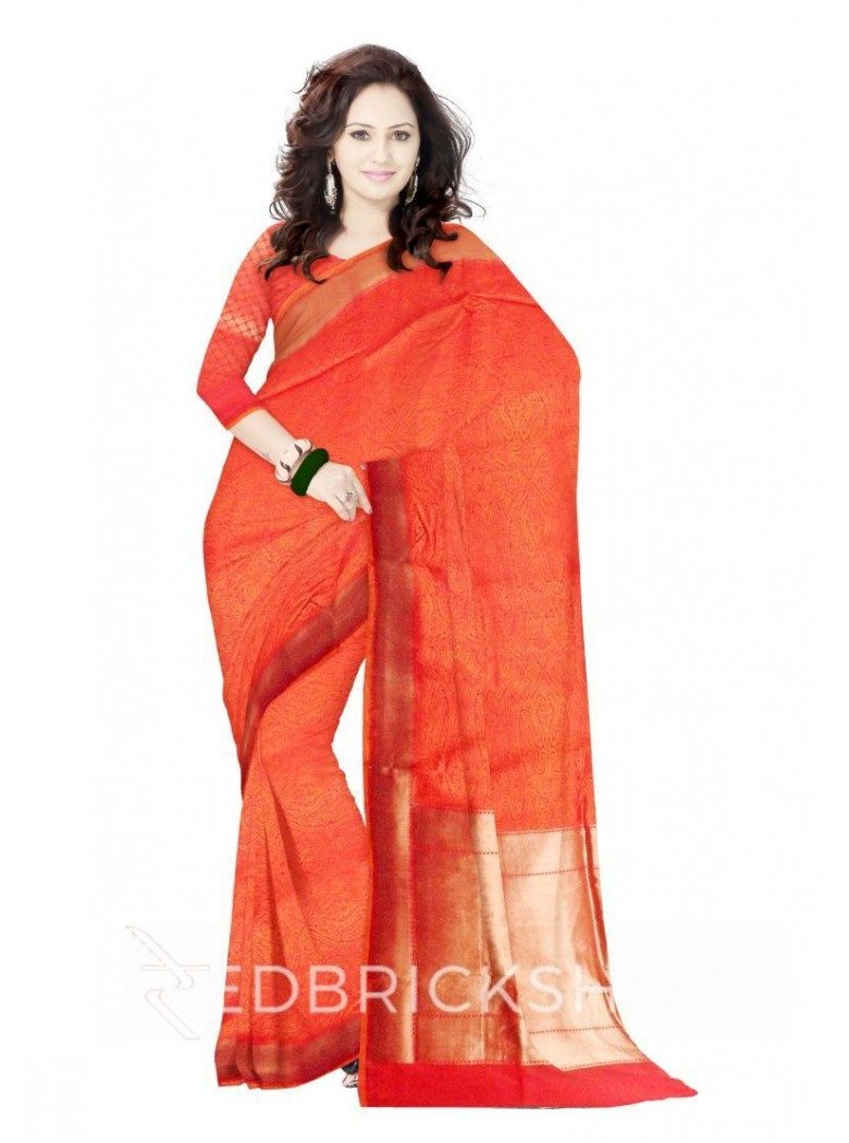 ALL OVER FLORAL LEAF ARCH PLAIN BORDER ORANGE, RED, MAGENTA, GOLD BENARASI SILK SAREE