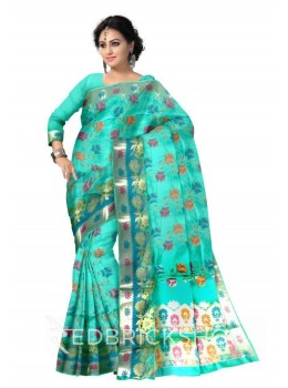 PLANT FLORAL WIDE BORDER, AQUAMARINE BLUE, PINK, PURPLE, GREEN, RUST ORANGE, GOLD BENARASI SILK SAREE