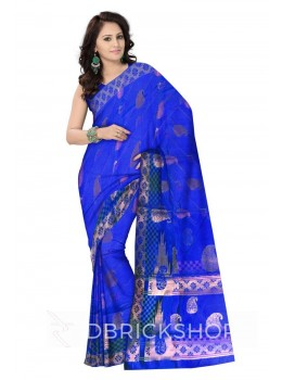 BIG PAISLEY FLORAL CHECK BORDER ROYAL BLUE, AQUAMARINE GREEN, MAUVE PURPLE, GOLD BENARASI SILK SAREE