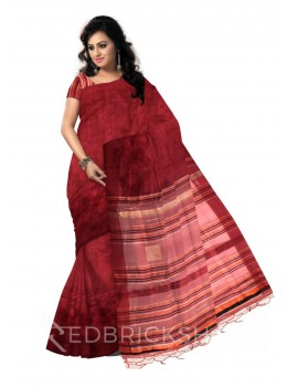 MAROON PLAIN ORANGE, BLACK, BEIGE STRIPES BHAGALPUR RAW SILK SAREE