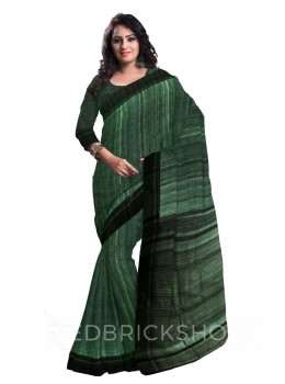 GREEN PLAIN BLACK STRIPES BHAGALPUR RAW SILK SAREE