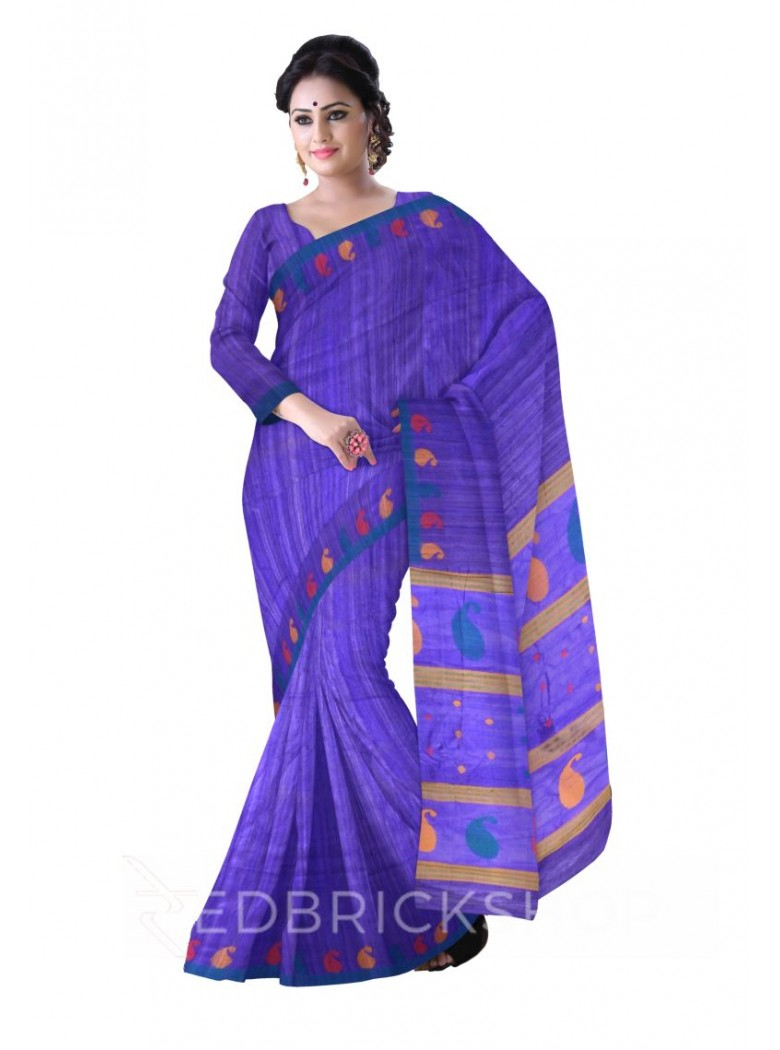 PURPLE PLAIN AQUAMARINE, RED, YELLOW PAISLEY BORDER BHAGALPUR RAW SILK SAREE