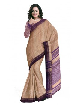 NATURAL BEIGE PLAIN PURPLE STRIPES BHAGALPUR RAW SILK SAREE