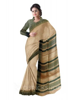 NATURAL BEIGE PLAIN DARK GREEN STRIPES BHAGALPUR RAW SILK SAREE