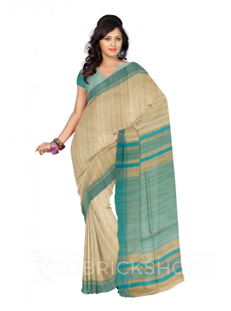 NATURAL BEIGE AQUAMARINE BLUE STRIPES BHAGALPUR RAW SILK SAREE