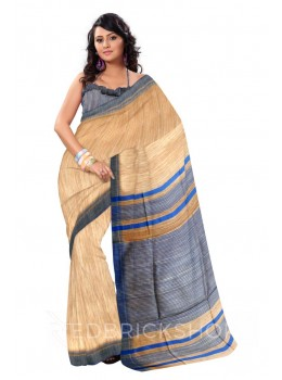 NATURAL BEIGE PLAIN BLUE STRIPES BHAGALPUR RAW SILK SAREE