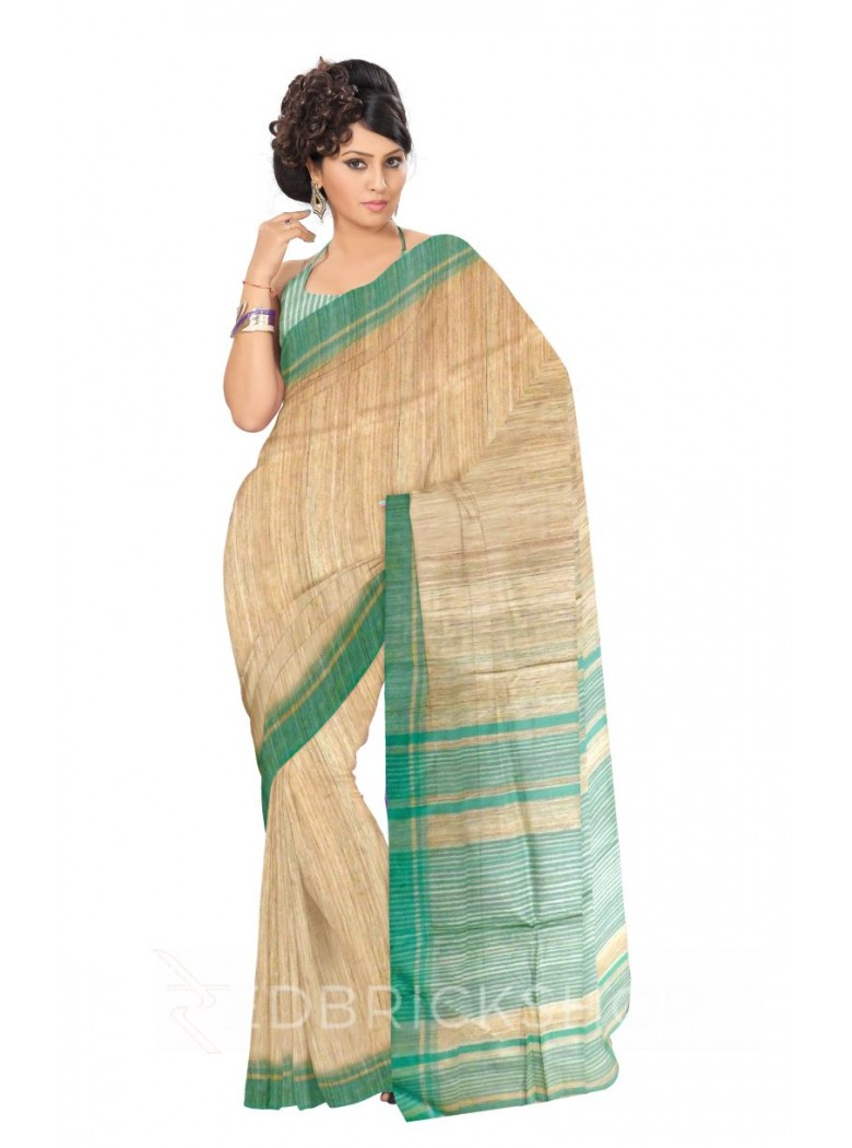 NATURAL BEIGE PLAIN MINT GREEN STRIPES BHAGALPUR RAW SILK SAREE