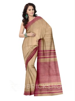 NATURAL BEIGE PLAIN ONION PINK STRIPES BHAGALPUR RAW SILK SAREE