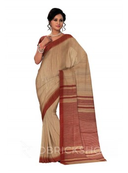 NATURAL BEIGE PLAIN MAROON, RED STRIPES BHAGALPUR RAW SILK SAREE