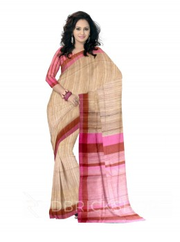 NATURAL BEIGE PINK MAROON THREAD STRIPES BHAGALPUR RAW SILK SAREE
