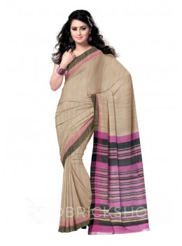 NATURAL BEIGE PINK THREAD BLACK, MAUVE STRIPES BHAGALPUR RAW SILK SAREE