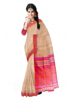 NATURAL BEIGE RED THREAD MAUVE STRIPES BHAGALPUR RAW SILK SAREE