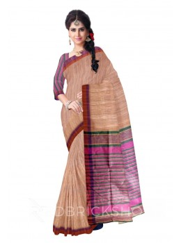 NATURAL BEIGE MAROON, PURPLE THREAD GREEN, MAUVE STRIPES BHAGALPUR RAW SILK SAREE